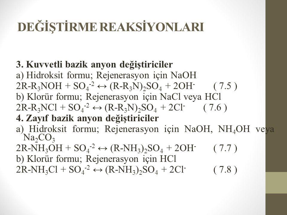 DEĞİŞTİRME REAKSİYONLARI 3. Kuvvetli bazik anyon değiştiriciler a) Hidroksit formu; Rejenerasyon için NaOH 2R-R 3 NOH + SO 4 -2 ↔ (R-R 3 N) 2 SO 4 + 2