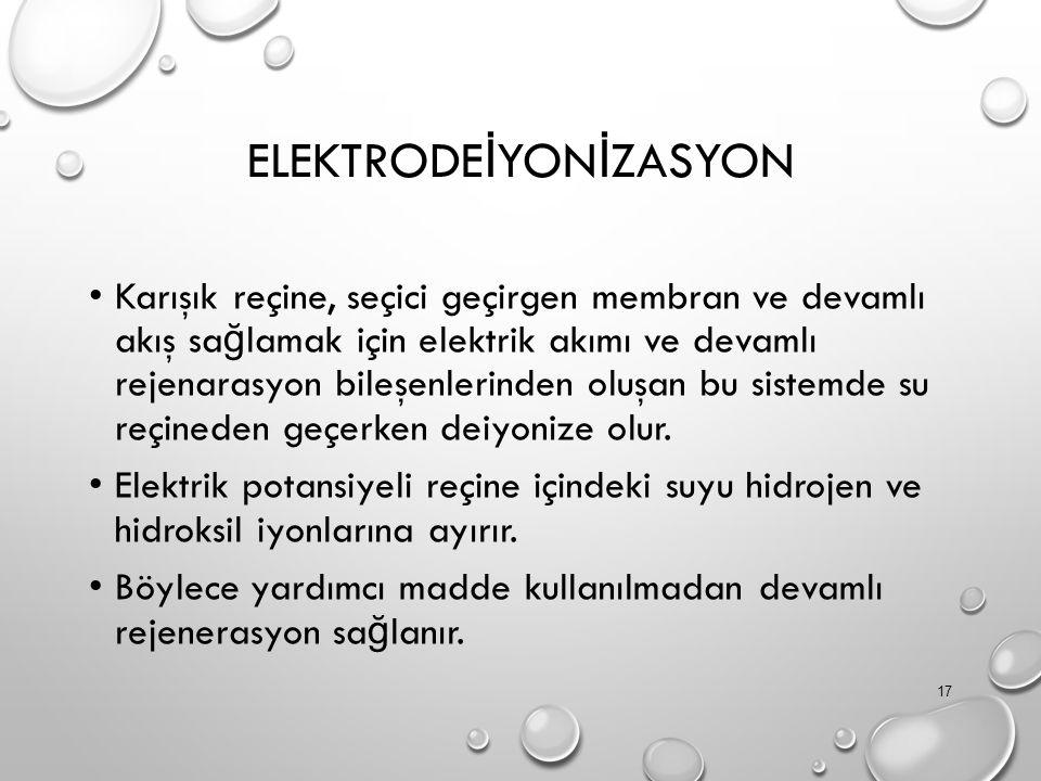 ELEKTRODE İ YON İ ZASYON Karışık reçine, seçici geçirgen membran ve devamlı akış sa ğ lamak için elektrik akımı ve devamlı rejenarasyon bileşenlerinden oluşan bu sistemde su reçineden geçerken deiyonize olur.