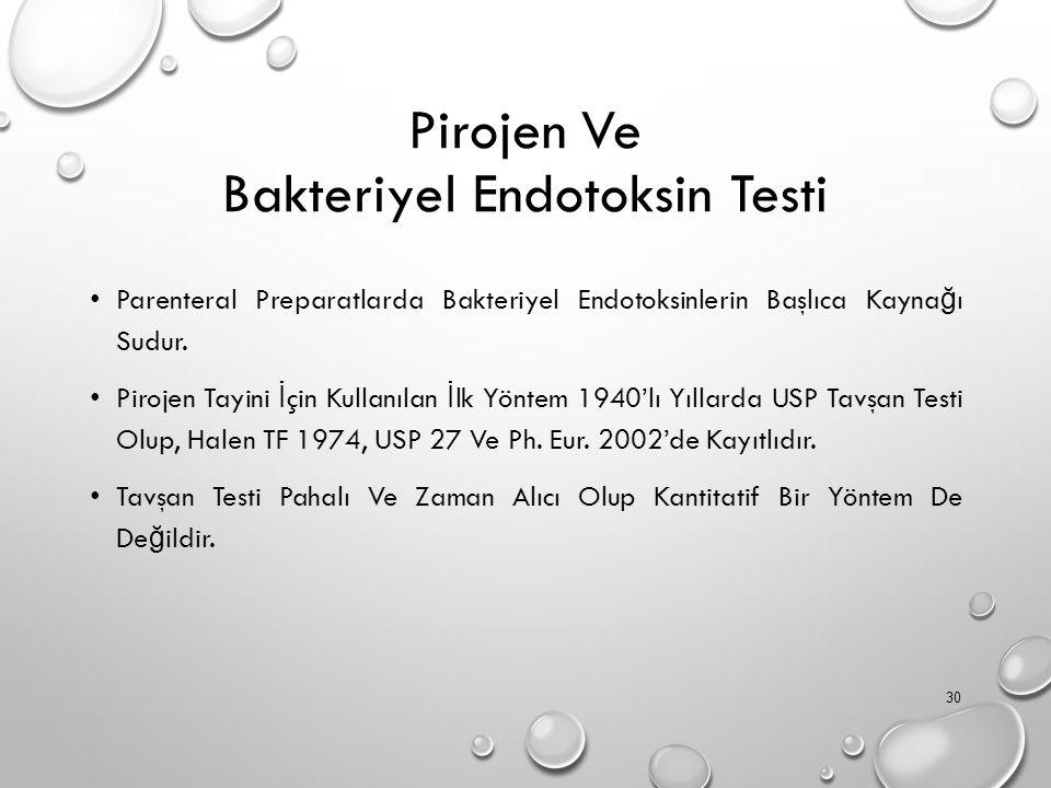 Pirojen Ve Bakteriyel Endotoksin Testi Parenteral Preparatlarda Bakteriyel Endotoksinlerin Başlıca Kayna ğ ı Sudur.