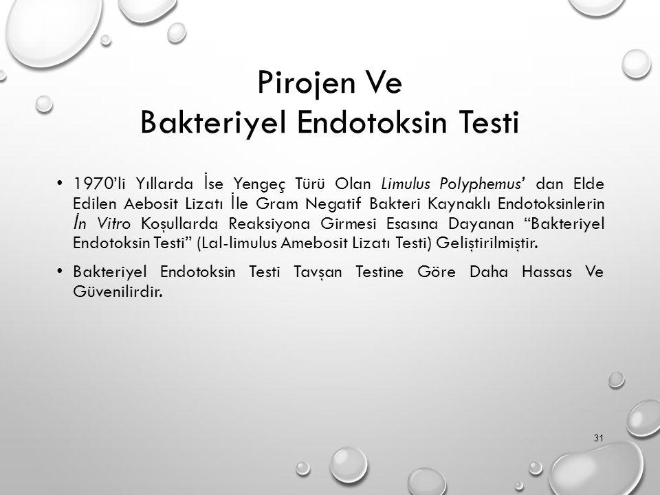 Pirojen Ve Bakteriyel Endotoksin Testi 1970'li Yıllarda İ se Yengeç Türü Olan Limulus Polyphemus' dan Elde Edilen Aebosit Lizatı İ le Gram Negatif Bakteri Kaynaklı Endotoksinlerin İ n Vitro Koşullarda Reaksiyona Girmesi Esasına Dayanan Bakteriyel Endotoksin Testi (Lal-limulus Amebosit Lizatı Testi) Geliştirilmiştir.