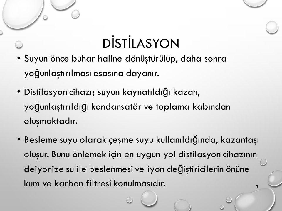 D İ ST İ LASYON Suyun önce buhar haline dönüştürülüp, daha sonra yo ğ unlaştırılması esasına dayanır.