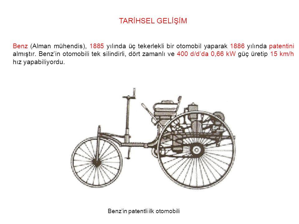Benz (Alman mühendis), 1885 yılında üç tekerlekli bir otomobil yaparak 1886 yılında patentini almıştır.