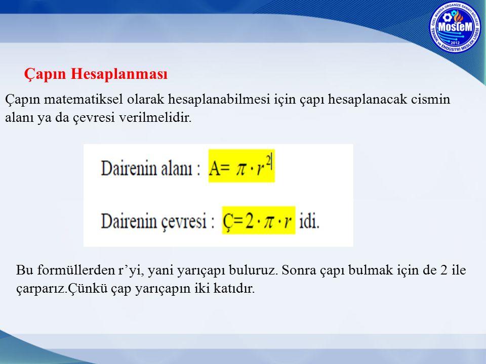 Çapın Hesaplanması Çapın matematiksel olarak hesaplanabilmesi için çapı hesaplanacak cismin alanı ya da çevresi verilmelidir. Bu formüllerden r'yi, ya