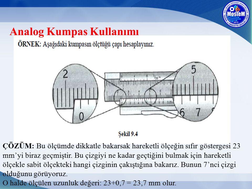 Analog Kumpas Kullanımı ÇÖZÜM: Bu ölçümde dikkatle bakarsak hareketli ölçeğin sıfır göstergesi 23 mm'yi biraz geçmiştir. Bu çizgiyi ne kadar geçtiğini