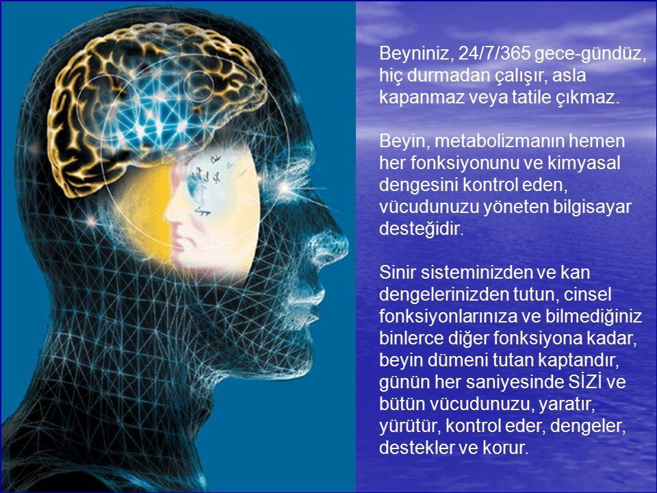 Beyniniz, 24/7/365 gece-gündüz, hiç durmadan çalışır, asla kapanmaz veya tatile çıkmaz.