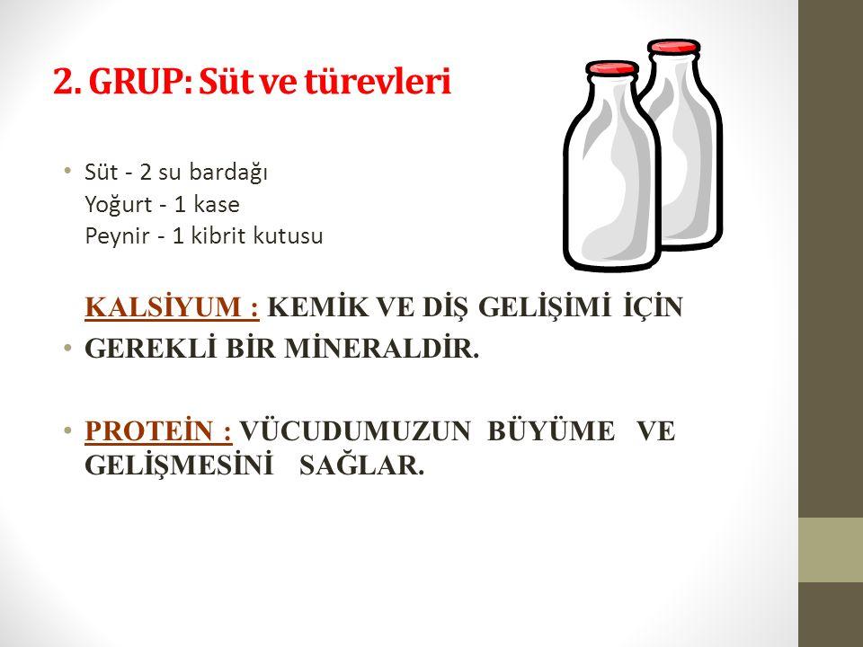 2. GRUP: Süt ve türevleri Süt - 2 su bardağı Yoğurt - 1 kase Peynir - 1 kibrit kutusu KALSİYUM : KEMİK VE DİŞ GELİŞİMİ İÇİN GEREKLİ BİR MİNERALDİR. PR