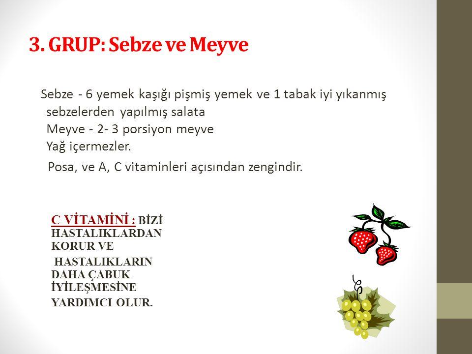 3. GRUP: Sebze ve Meyve Sebze - 6 yemek kaşığı pişmiş yemek ve 1 tabak iyi yıkanmış sebzelerden yapılmış salata Meyve - 2- 3 porsiyon meyve Yağ içerme