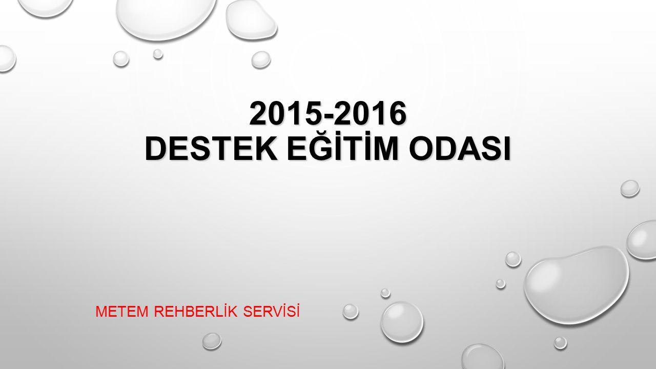 2015-2016 DESTEK EĞİTİM ODASI 2015-2016 DESTEK EĞİTİM ODASI METEM REHBERLİK SERVİSİ
