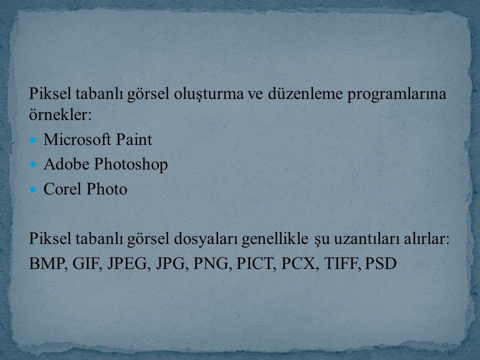 Piksel tabanlı görsel oluşturma ve düzenleme programlarına örnekler: Microsoft Paint Adobe Photoshop Corel Photo Piksel tabanlı görsel dosyaları genellikle şu uzantıları alırlar: BMP, GIF, JPEG, JPG, PNG, PICT, PCX, TIFF,PSD