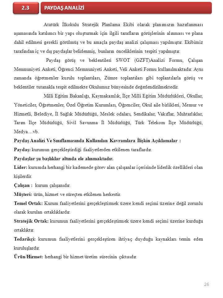 Atatürk İlkokulu Stratejik Planlama Ekibi olarak planımızın hazırlanması aşamasında katılımcı bir yapı oluşturmak için ilgili tarafların görüşlerinin alınması ve plana dahil edilmesi gerekli görülmüş ve bu amaçla paydaş analizi çalışması yapılmıştır.