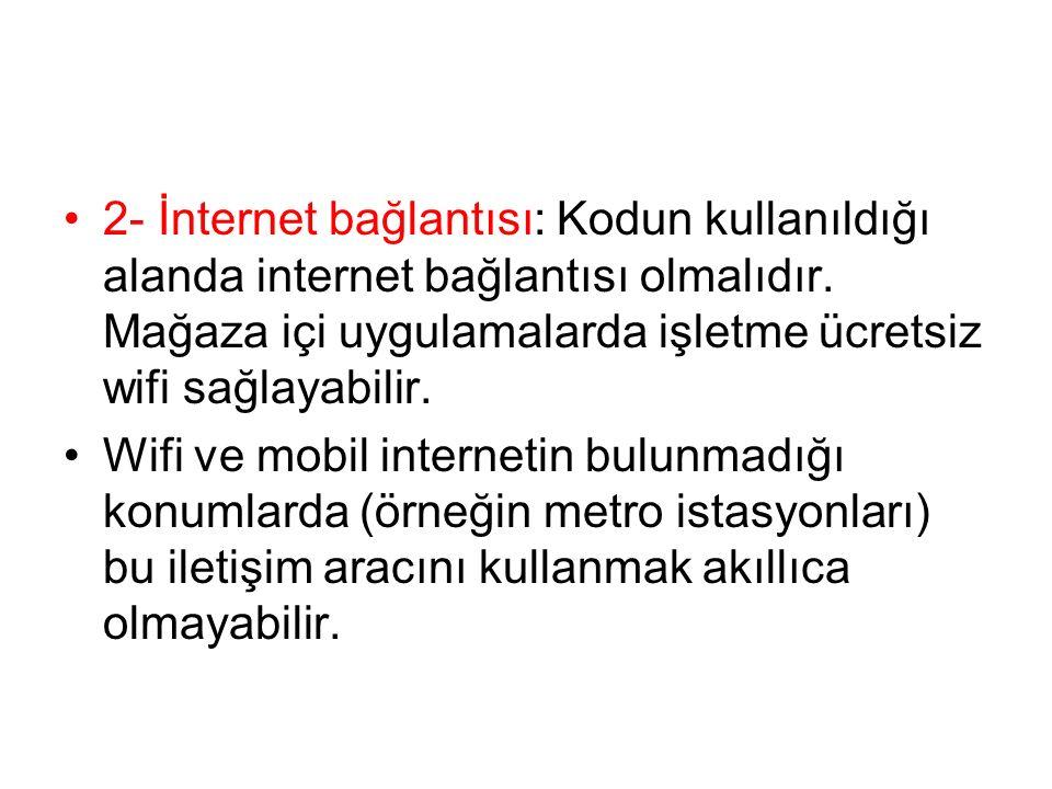 2- İnternet bağlantısı: Kodun kullanıldığı alanda internet bağlantısı olmalıdır.