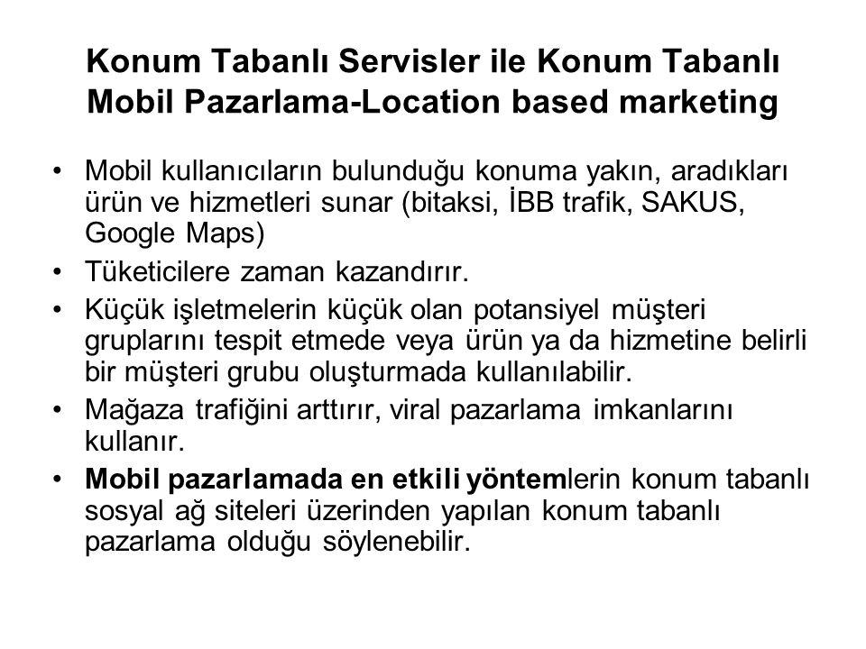 Mobil kullanıcıların bulunduğu konuma yakın, aradıkları ürün ve hizmetleri sunar (bitaksi, İBB trafik, SAKUS, Google Maps) Tüketicilere zaman kazandırır.