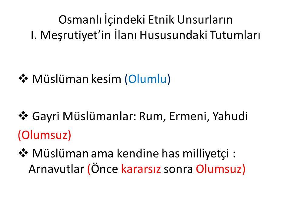 Osmanlı İçindeki Etnik Unsurların I.