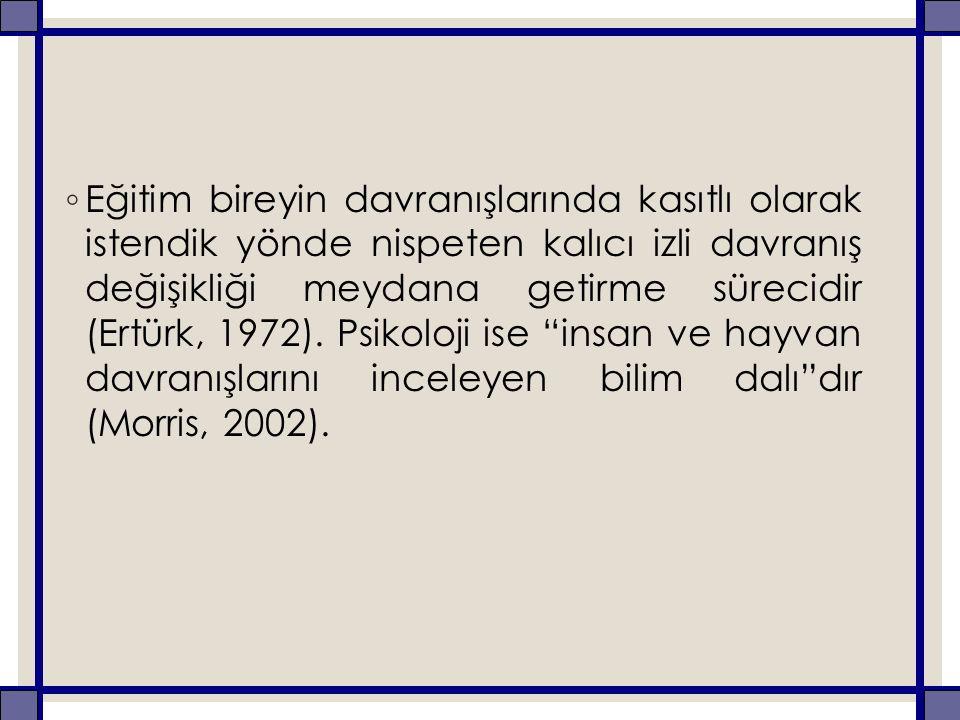 ◦ Eğitim bireyin davranışlarında kasıtlı olarak istendik yönde nispeten kalıcı izli davranış değişikliği meydana getirme sürecidir (Ertürk, 1972).