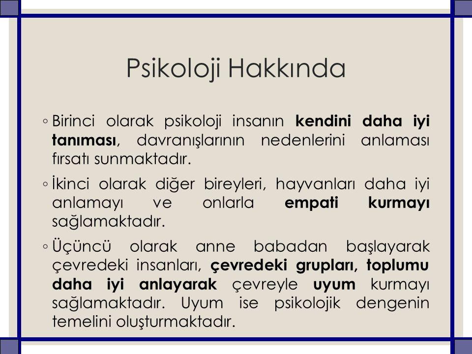 Psikoloji Hakkında ◦ Birinci olarak psikoloji insanın kendini daha iyi tanıması, davranışlarının nedenlerini anlaması fırsatı sunmaktadır.