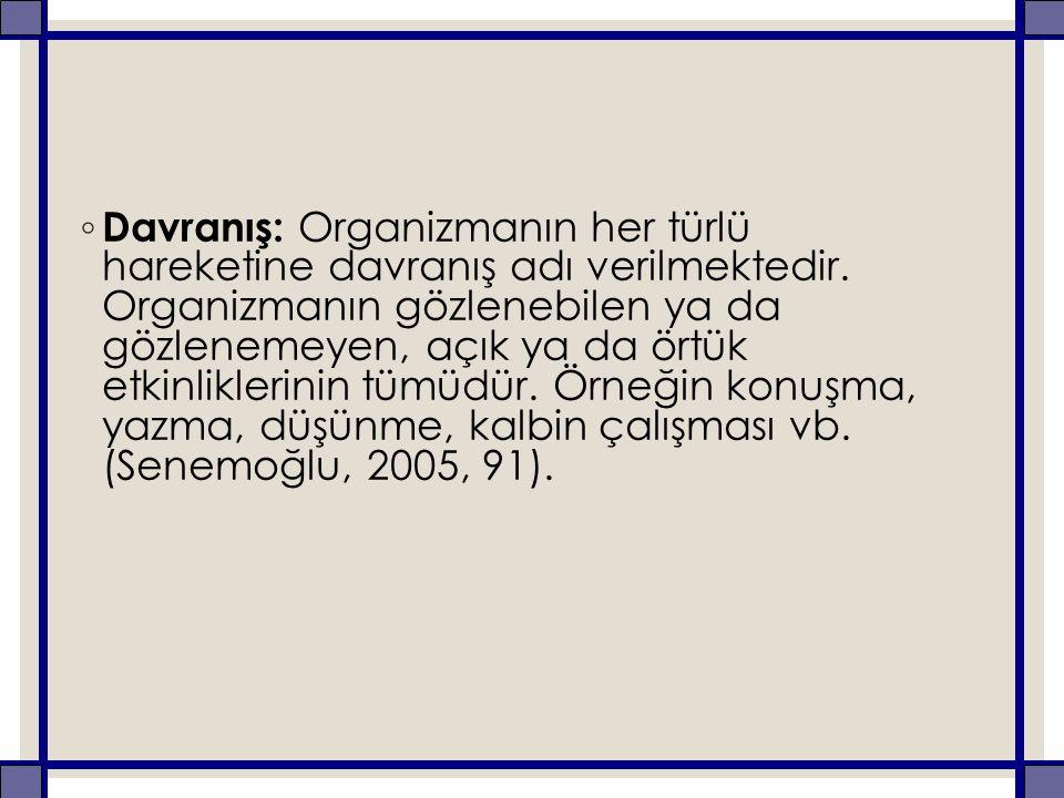 ◦ Davranış: Organizmanın her türlü hareketine davranış adı verilmektedir.