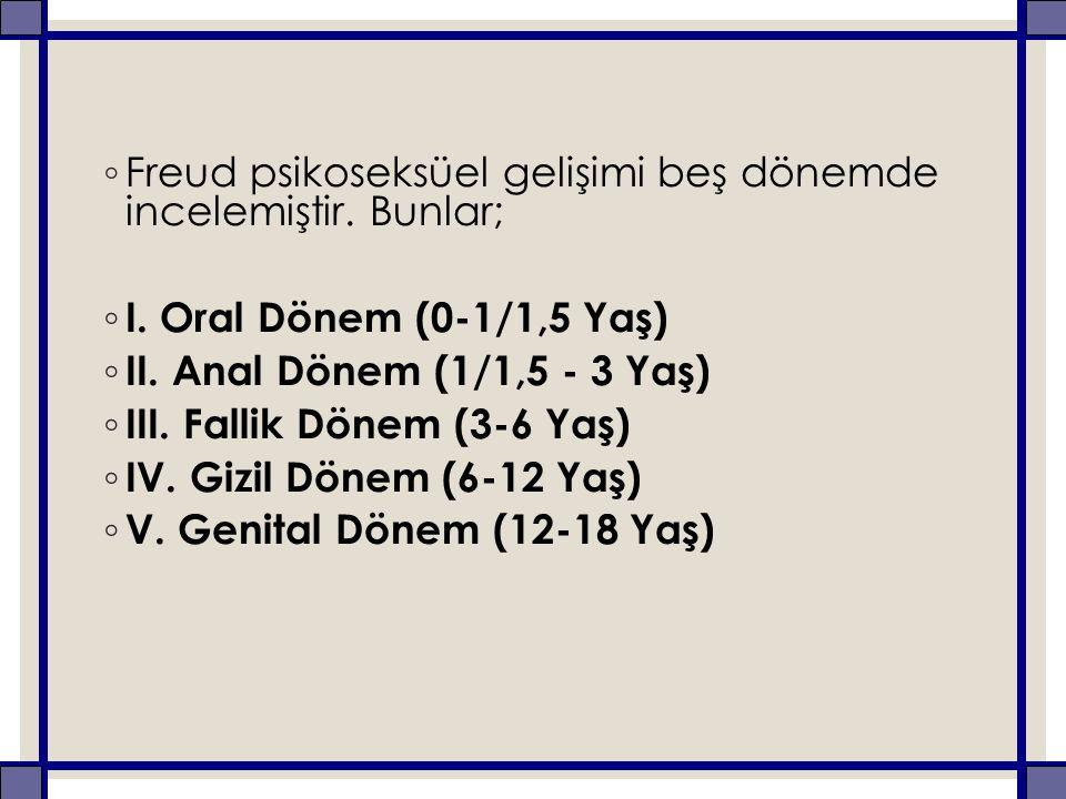 ◦ Freud psikoseksüel gelişimi beş dönemde incelemiştir.