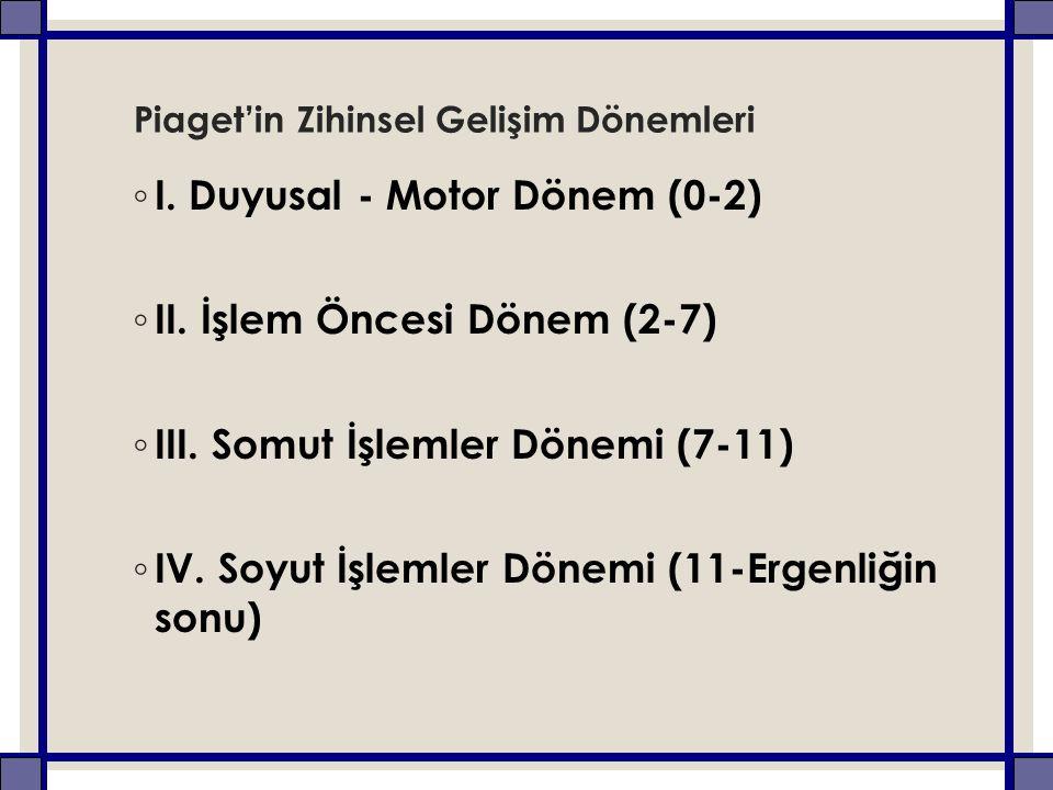 Piaget'in Zihinsel Gelişim Dönemleri ◦ I. Duyusal - Motor Dönem (0-2) ◦ II.