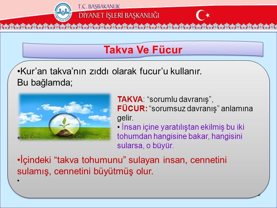 """26 Kur'an takva'nın zıddı olarak fucur'u kullanır. Bu bağlamda; İçindeki """"takva tohumunu"""" sulayan insan, cennetini sulamış, cennetini büyütmüş olur. K"""