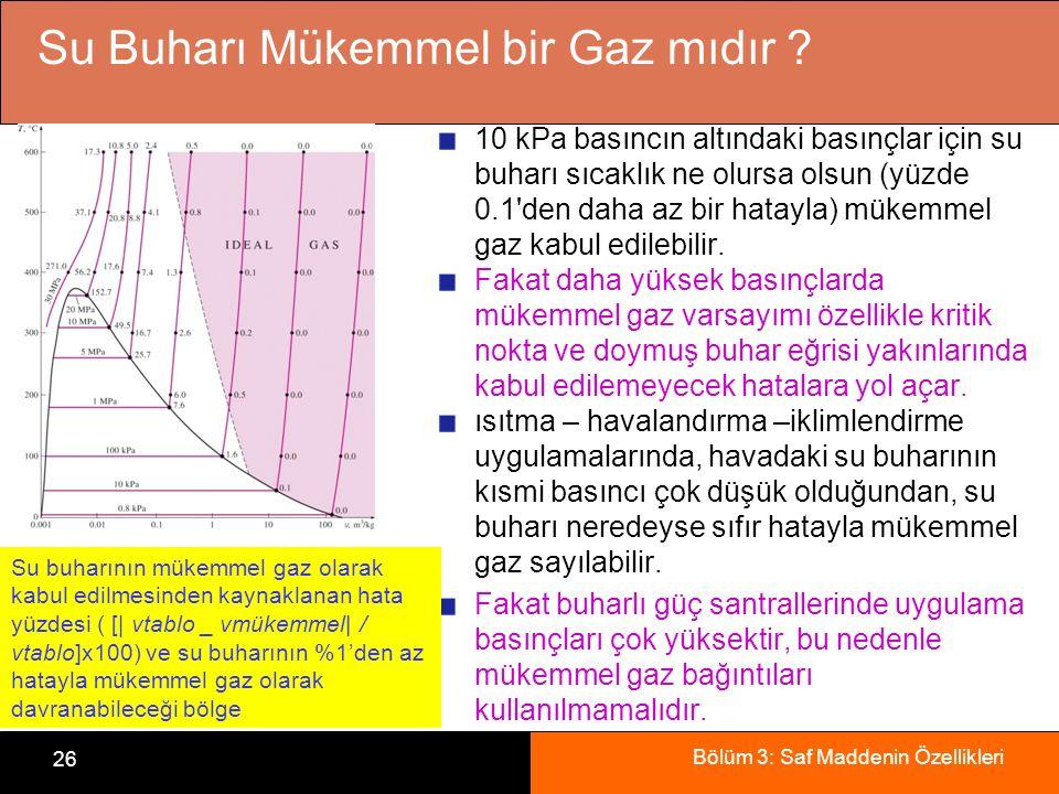 Bölüm 3: Saf Maddenin Özellikleri 26 Su Buharı Mükemmel bir Gaz mıdır ? 10 kPa basıncın altındaki basınçlar için su buharı sıcaklık ne olursa olsun (y