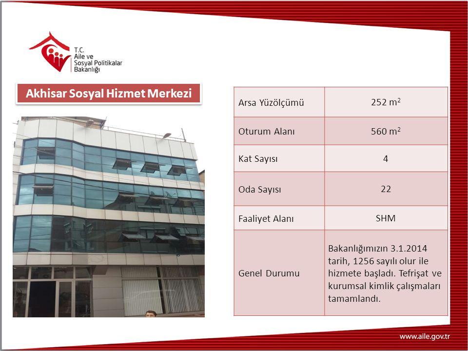 Arsa Yüzölçümü 252 m 2 Oturum Alanı 560 m 2 Kat Sayısı 4 Oda Sayısı 22 Faaliyet Alanı SHM Genel Durumu Bakanlığımızın 3.1.2014 tarih, 1256 sayılı olur