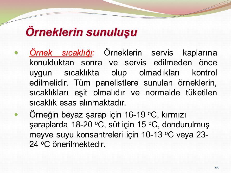 116 Örneklerin sunuluşu Örnek sıcaklığı Örnek sıcaklığı: Örneklerin servis kaplarına konulduktan sonra ve servis edilmeden önce uygun sıcaklıkta olup
