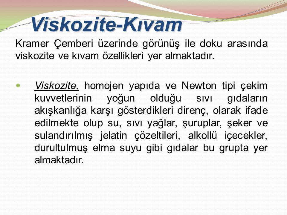 Viskozite-Kıvam Kramer Çemberi üzerinde görünüş ile doku arasında viskozite ve kıvam özellikleri yer almaktadır. Viskozite, homojen yapıda ve Newton t