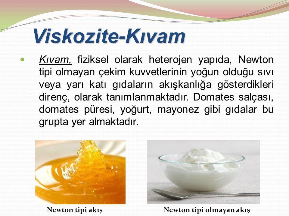 Viskozite-Kıvam Kıvam, fiziksel olarak heterojen yapıda, Newton tipi olmayan çekim kuvvetlerinin yoğun olduğu sıvı veya yarı katı gıdaların akışkanlığ