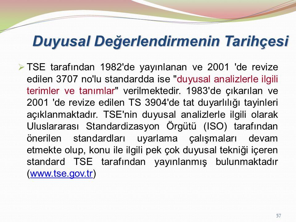 57 Duyusal Değerlendirmenin Tarihçesi  TSE tarafından 1982'de yayınlanan ve 2001 'de revize edilen 3707 no'lu standardda ise