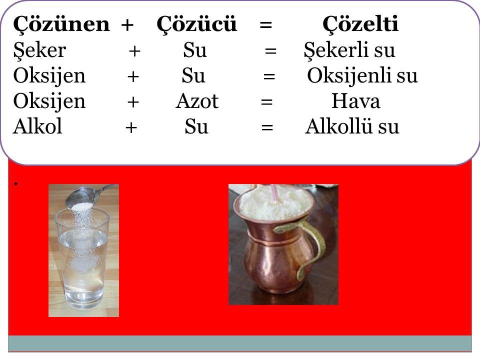 Çözünen + Çözücü = Çözelti Şeker + Su = Şekerli su Oksijen + Su = Oksijenli su Oksijen + Azot = Hava Alkol + Su = Alkollü su.