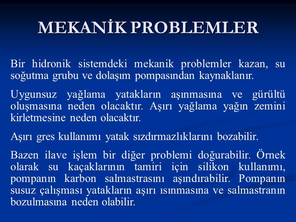 MEKANİK PROBLEMLER Bir hidronik sistemdeki mekanik problemler kazan, su soğutma grubu ve dolaşım pompasından kaynaklanır.