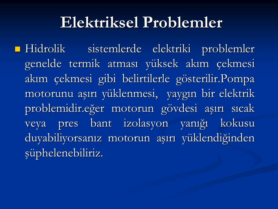 Elektriksel Problemler Hidrolik sistemlerde elektriki problemler genelde termik atması yüksek akım çekmesi akım çekmesi gibi belirtilerle gösterilir.P