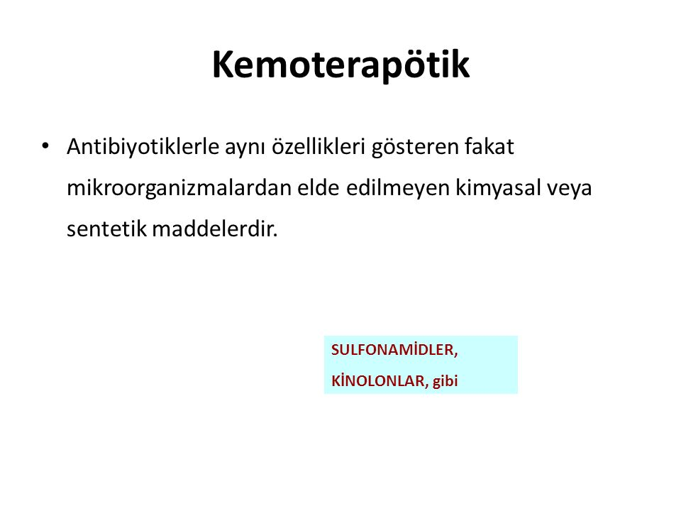 Penisilinler Doğal penisilinler – Penisilin G – Penisilin V Penisilinaza dayanıklı penisilinler – Metisilin – Oksasilin – Kloksasilin – Dikloksasilin – Nafsilin Aminopenisilinler – Ampisilin – Amoksasilin – Bakampisilin – Pivampisilin Antipsödomonal penisilinler – Karbenisilin – Azlosislin – Tikarsilin Üreidopenisilinler – Mezlosilin – Piperasilin Beta-laktamaz inhibitörleri ile kombine penisilinler – Ampisilin-sulbaktam – Amoksisilin-klavulanik asit – Tikarsilin-klavulanik aist – Piperasilin-tazobaktam
