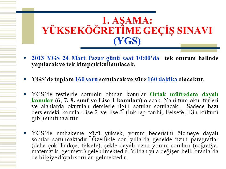 1. AŞAMA: YÜKSEKÖĞRETİME GEÇİŞ SINAVI (YGS)  2013 YGS 24 Mart Pazar günü saat 10:00'da tek oturum halinde yapılacak ve tek kitapçık kullanılacak.  Y