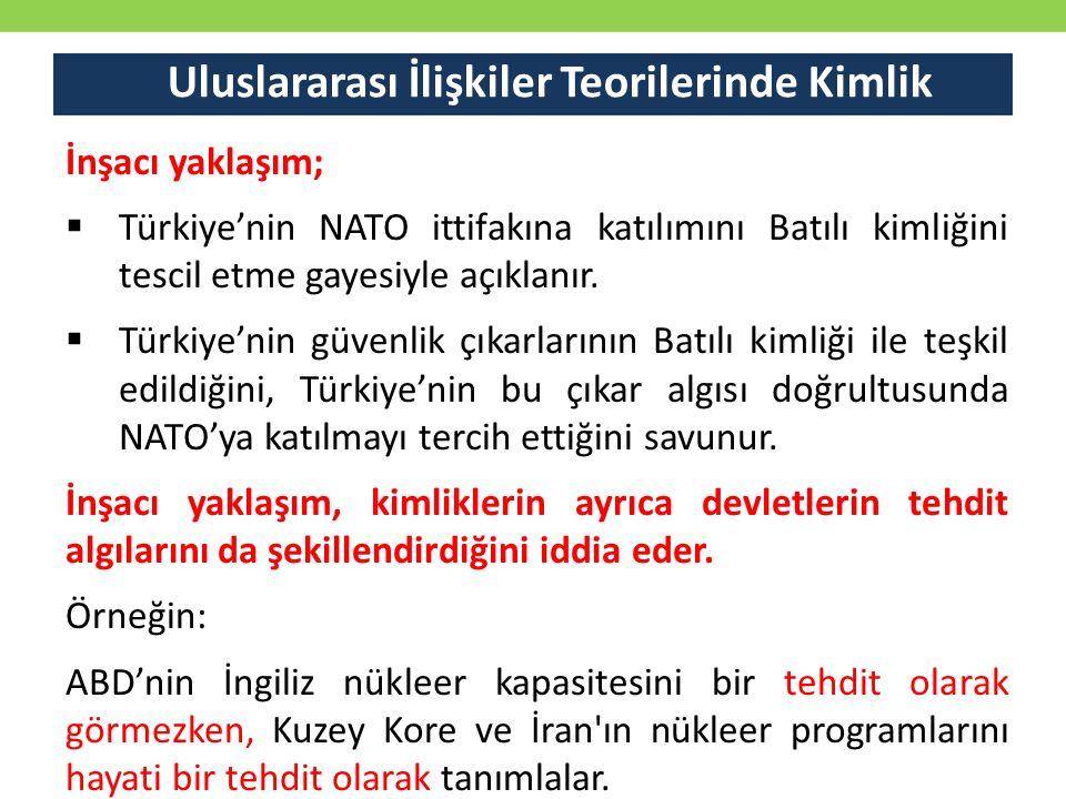 Uluslararası İlişkiler Teorilerinde Kimlik İnşacı yaklaşım;  Türkiye'nin NATO ittifakına katılımını Batılı kimliğini tescil etme gayesiyle açıklanır.