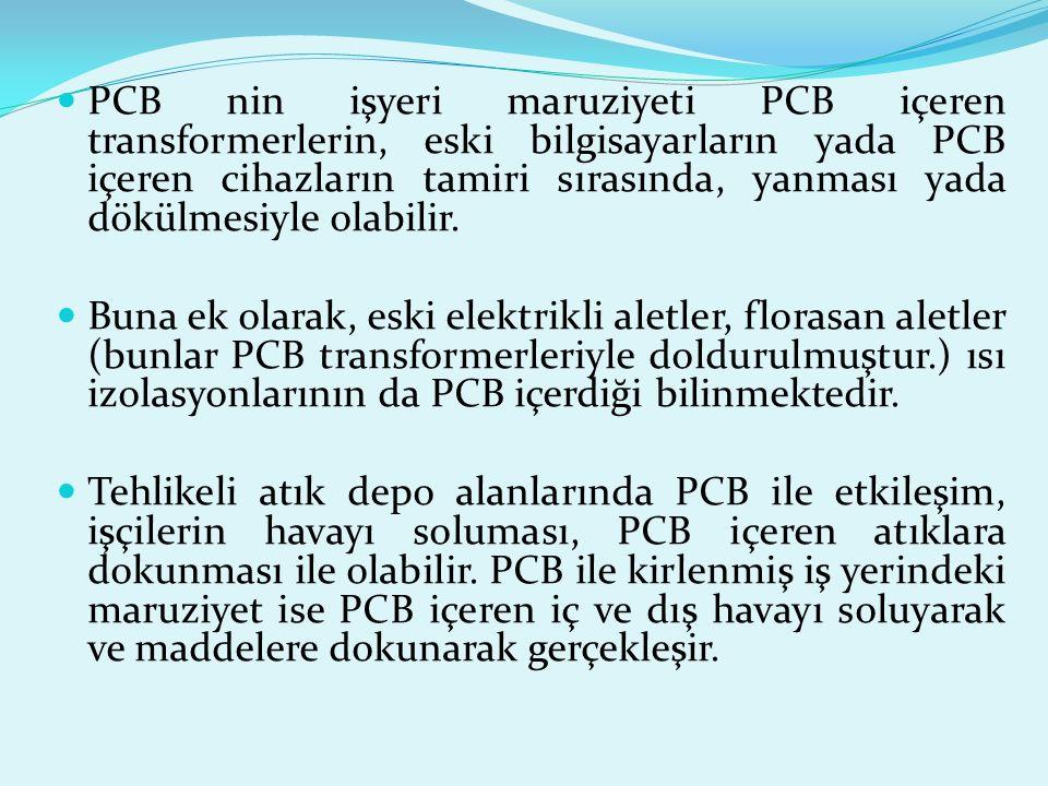 10 Az miktarda PCB her dış ve iç ortamdaki havada, toprakta, sedimentte, yüzey sularında ve hayvanlarda bulunabilir. Bununla birlikle PCB seviyesi, ür
