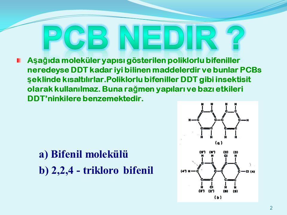2 A ş a ğ ıda moleküler yapısı gösterilen poliklorlu bifeniller neredeyse DDT kadar iyi bilinen maddelerdir ve bunlar PCBs ş eklinde kısaltılırlar.Poliklorlu bifeniller DDT gibi insektisit olarak kullanılmaz.