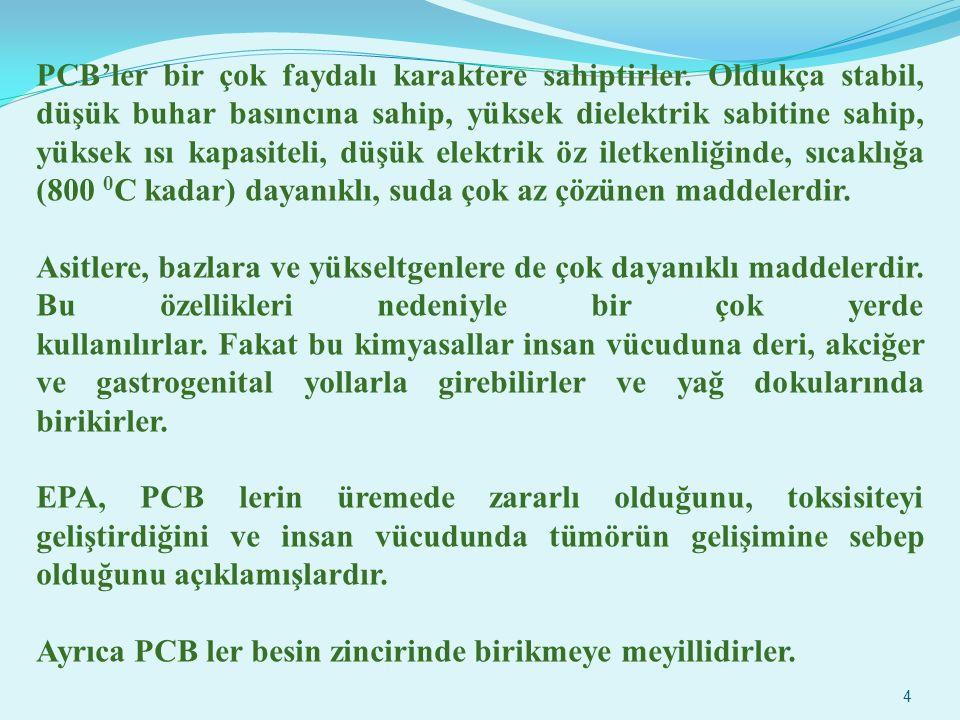 3 PCB çeşitli zehirlilik seviyeleriyle birlikte 209 bileşikten oluşan insan yapımı bir kirleticidir. PCB ler, yalıtkan ve yanmayan özelliklerinden dol