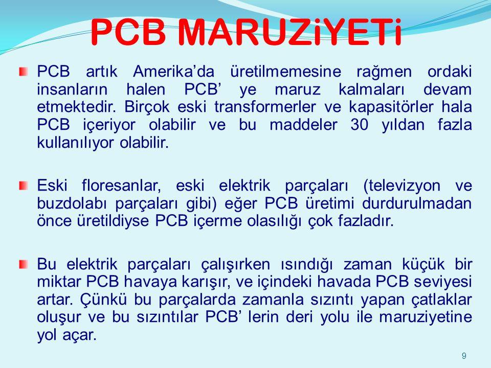 9 PCB MARUZiYETi PCB artık Amerika'da üretilmemesine rağmen ordaki insanların halen PCB' ye maruz kalmaları devam etmektedir.