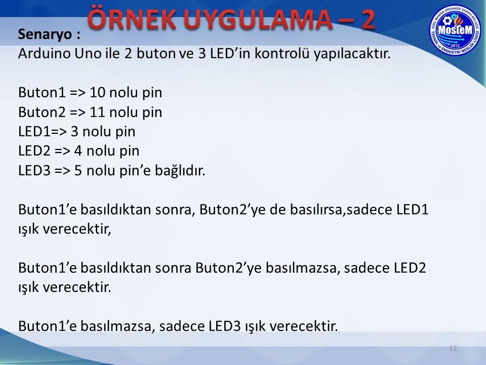 12 Senaryo : Arduino Uno ile 2 buton ve 3 LED'in kontrolü yapılacaktır. Buton1 => 10 nolu pin Buton2 => 11 nolu pin LED1=> 3 nolu pin LED2 => 4 nolu p