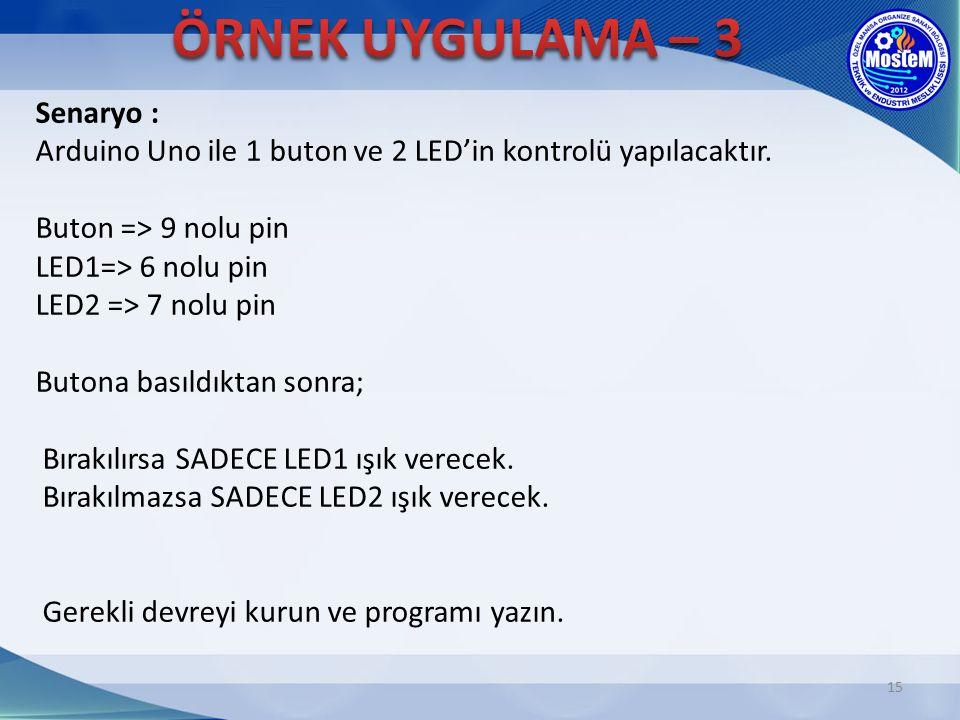 15 Senaryo : Arduino Uno ile 1 buton ve 2 LED'in kontrolü yapılacaktır. Buton => 9 nolu pin LED1=> 6 nolu pin LED2 => 7 nolu pin Butona basıldıktan so