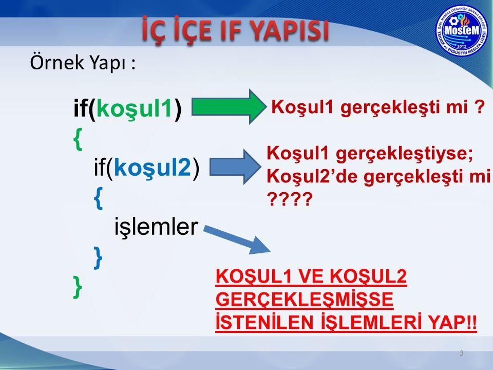3 Örnek Yapı : if(koşul1) { if(koşul2) { işlemler } } Koşul1 gerçekleşti mi .
