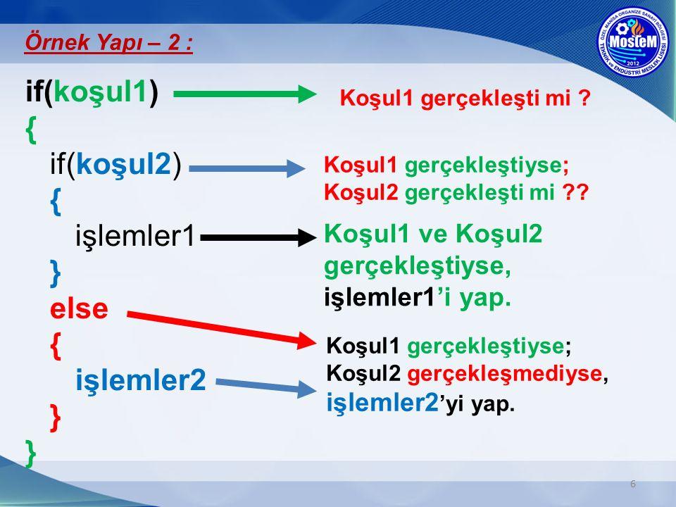 6 if(koşul1) { if(koşul2) { işlemler1 } else { işlemler2 } } Örnek Yapı – 2 : Koşul1 gerçekleşti mi ? Koşul1 gerçekleştiyse; Koşul2 gerçekleşti mi ??
