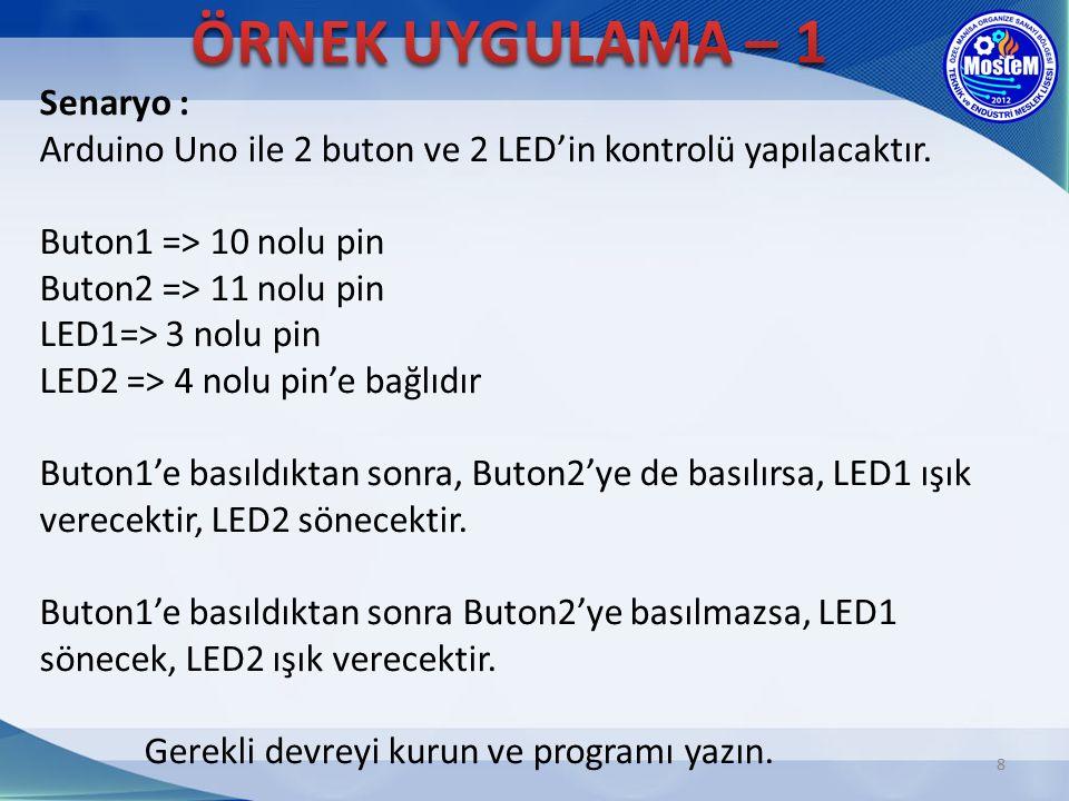 8 Senaryo : Arduino Uno ile 2 buton ve 2 LED'in kontrolü yapılacaktır. Buton1 => 10 nolu pin Buton2 => 11 nolu pin LED1=> 3 nolu pin LED2 => 4 nolu pi