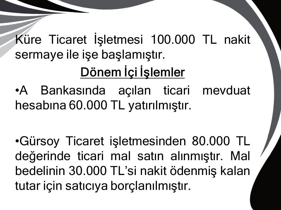 Küre Ticaret İşletmesi 100.000 TL nakit sermaye ile işe başlamıştır.