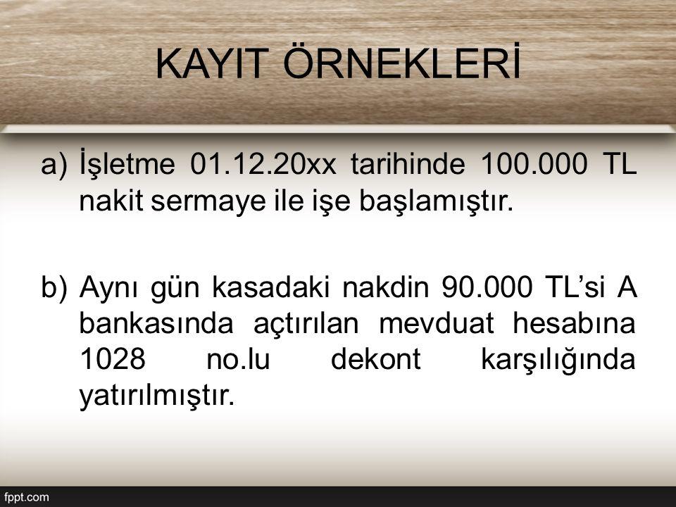 KAYIT ÖRNEKLERİ a)İşletme 01.12.20xx tarihinde 100.000 TL nakit sermaye ile işe başlamıştır. b) Aynı gün kasadaki nakdin 90.000 TL'si A bankasında açt