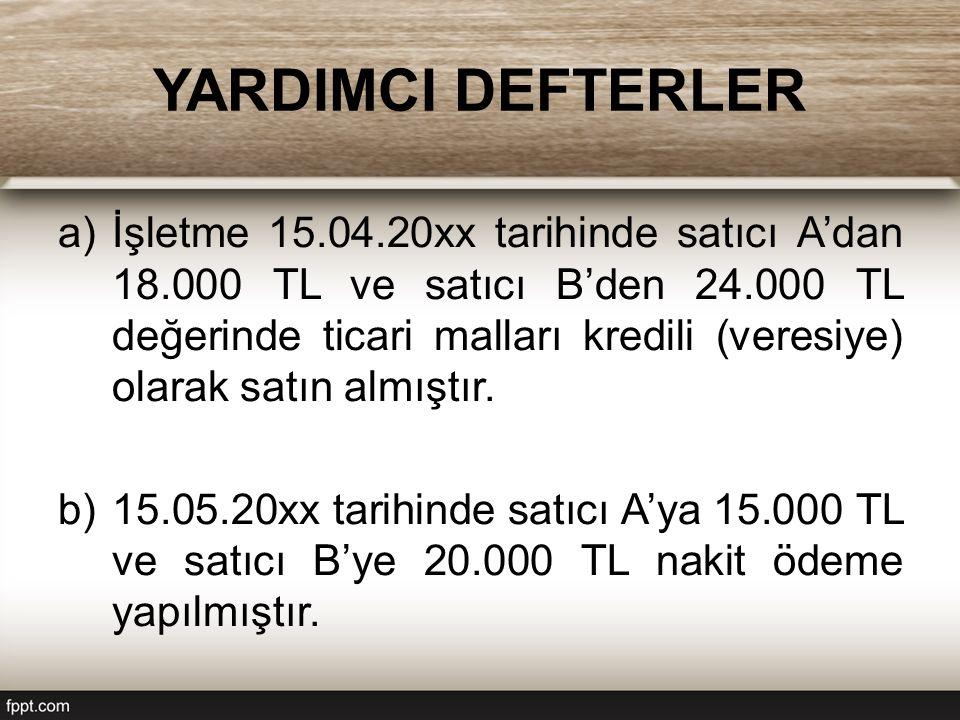 YARDIMCI DEFTERLER a)İşletme 15.04.20xx tarihinde satıcı A'dan 18.000 TL ve satıcı B'den 24.000 TL değerinde ticari malları kredili (veresiye) olarak
