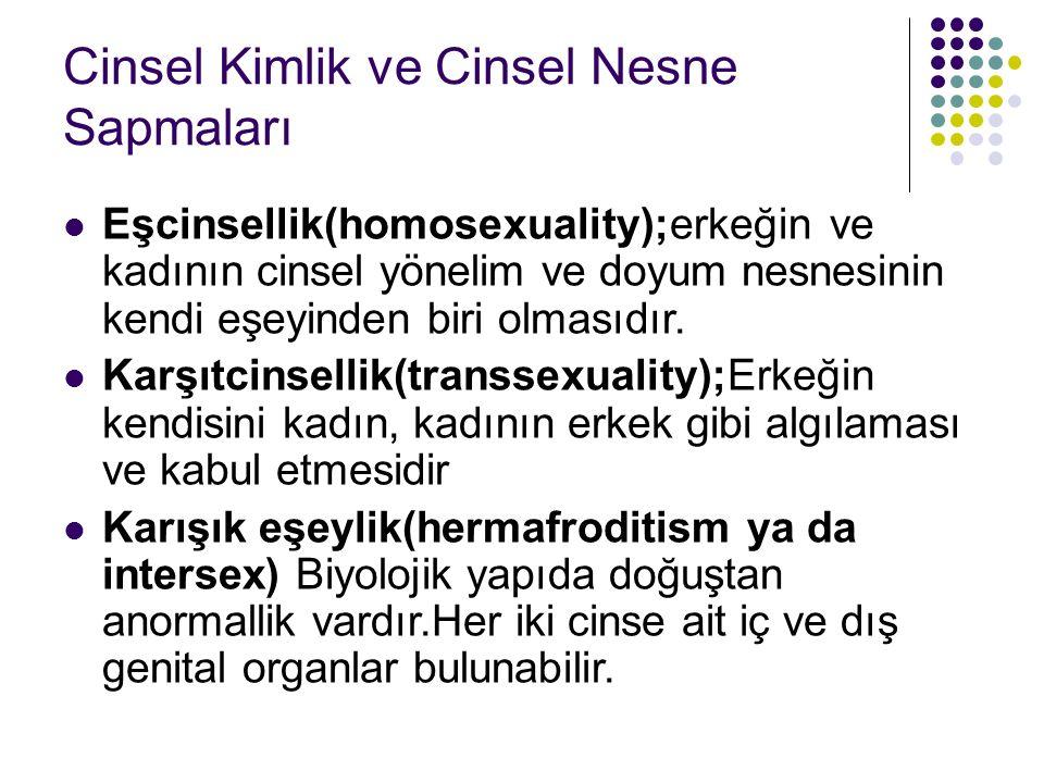 Cinsel Kimlik ve Cinsel Nesne Sapmaları Eşcinsellik(homosexuality);erkeğin ve kadının cinsel yönelim ve doyum nesnesinin kendi eşeyinden biri olmasıdı