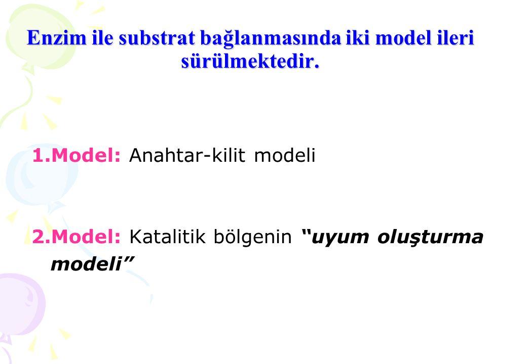 """Enzim ile substrat bağlanmasında iki model ileri sürülmektedir. 1.Model: Anahtar-kilit modeli 2.Model: Katalitik bölgenin """"uyum oluşturma modeli"""""""