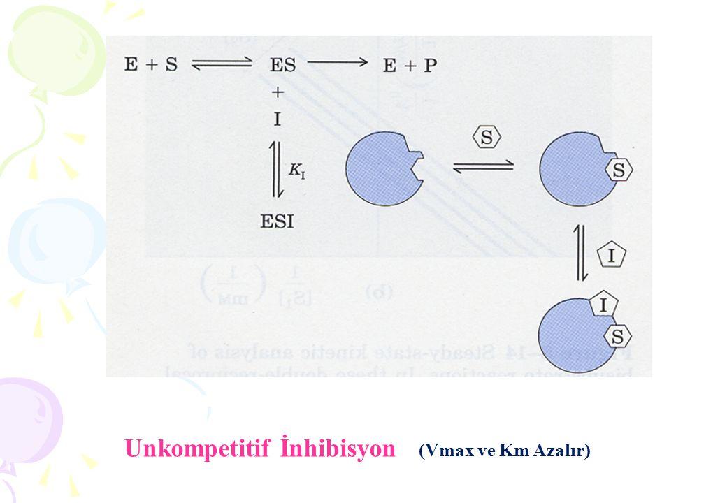 Unkompetitif İnhibisyon (Vmax ve Km Azalır)